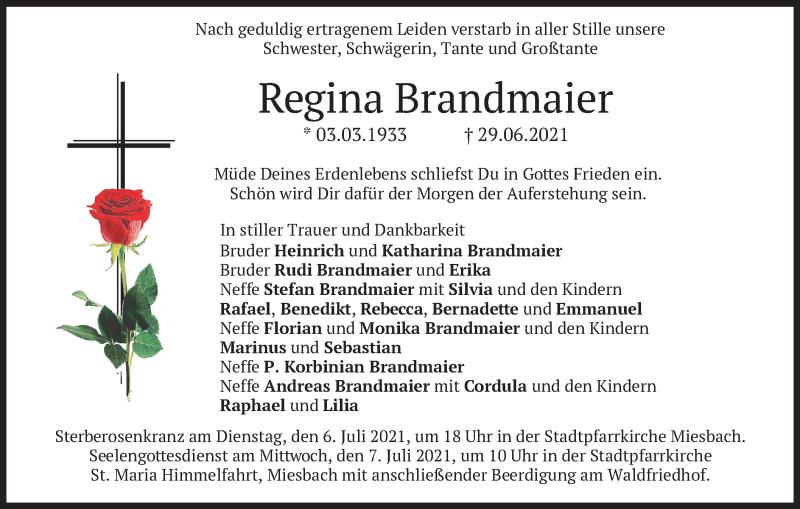 Traueranzeige für Regina Brandmaier vom 02.07.2021 aus merkurtz