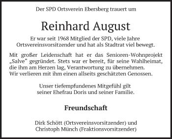Traueranzeige von Reinhard August von merkurtz