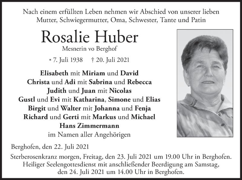 Traueranzeige für Rosalie Huber vom 22.07.2021 aus merkurtz