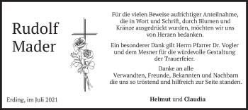 Traueranzeige von Rudolf Mader von merkurtz