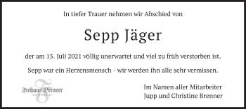 Traueranzeige von Sepp Jäger von merkurtz