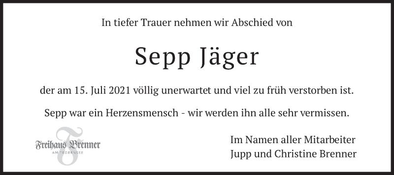 Traueranzeige für Sepp Jäger vom 22.07.2021 aus merkurtz