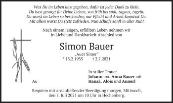 Traueranzeige von Simon Bauer von merkurtz