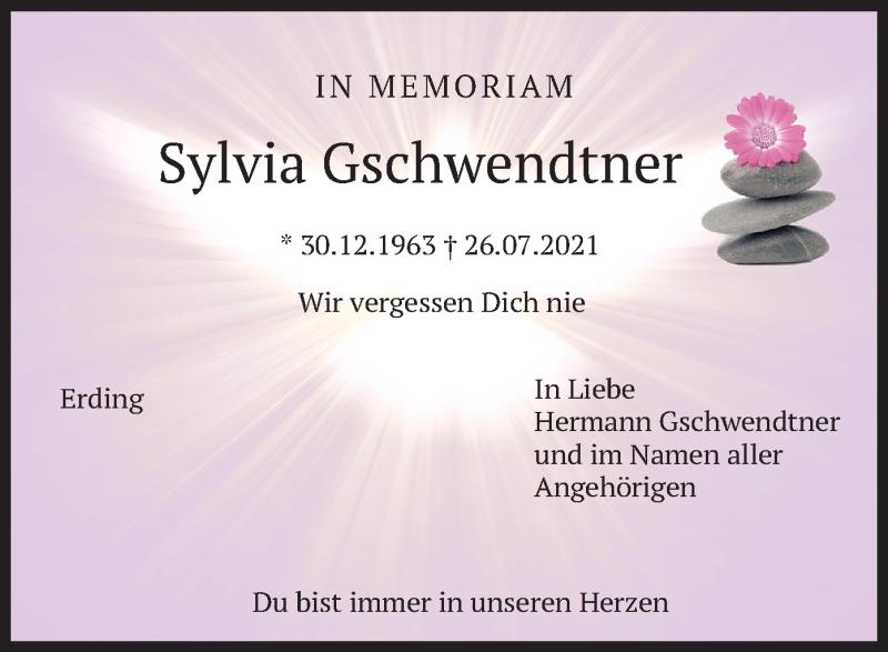 Traueranzeige für Sylvia Gschwendtner vom 31.07.2021 aus merkurtz
