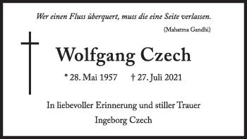 Traueranzeige von Wolfgang Czech von merkurtz