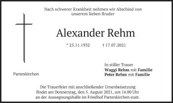 Traueranzeige von Alexander Rehm von merkurtz
