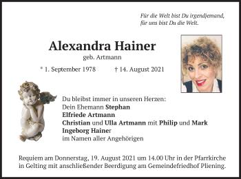 Traueranzeige von Alexandra Hainer von merkurtz