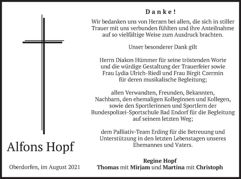 Traueranzeige für Alfons Hopf vom 07.08.2021 aus merkurtz