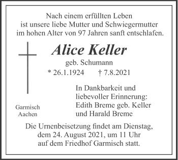 Traueranzeige von Alice Keller von merkurtz