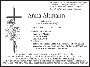 Traueranzeige von Anna Altmann von merkurtz
