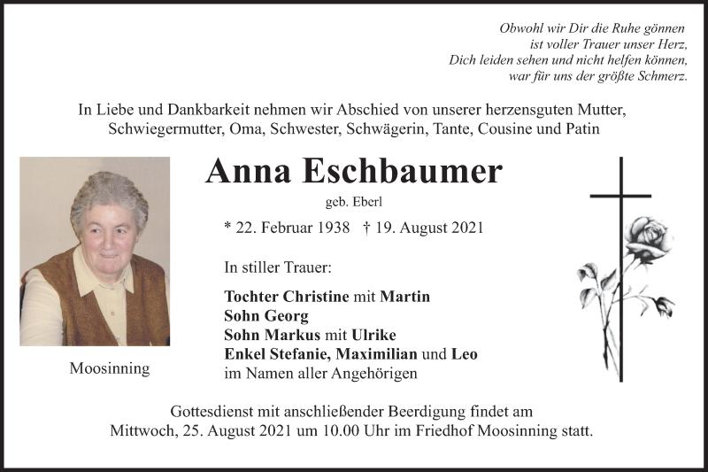 Traueranzeige für Anna Eschbaumer vom 21.08.2021 aus merkurtz