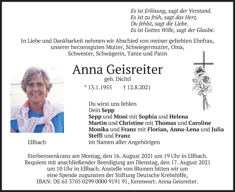 Traueranzeige für Anna Geisreiter vom 14.08.2021 aus merkurtz