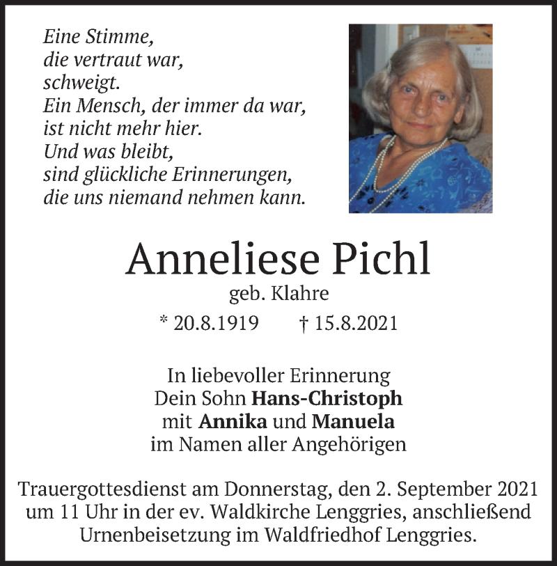 Traueranzeige für Anneliese Pichl vom 31.08.2021 aus merkurtz