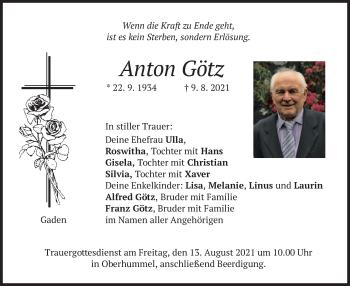 Traueranzeige von Anton Götz von merkurtz