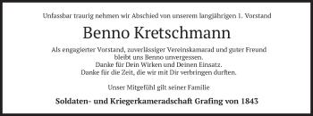 Traueranzeige von Benno Kretschmann von merkurtz