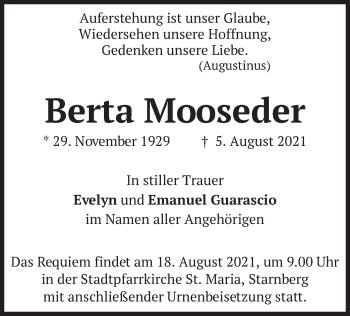 Traueranzeige von Berta Mooseder von merkurtz
