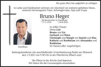 Traueranzeige von Bruno Heger von merkurtz