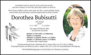 Traueranzeige von Dorothea bubisutti von merkurtz