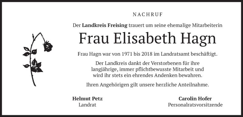 Traueranzeige für Elisabeth Hagn vom 31.08.2021 aus merkurtz