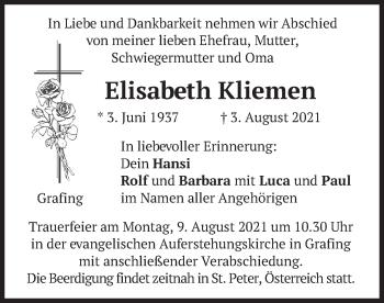 Traueranzeige von Elisabeth Kliemen von merkurtz