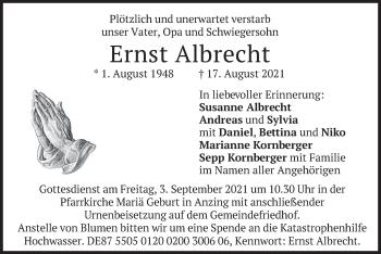 Traueranzeige von Ernst Albrecht von merkurtz