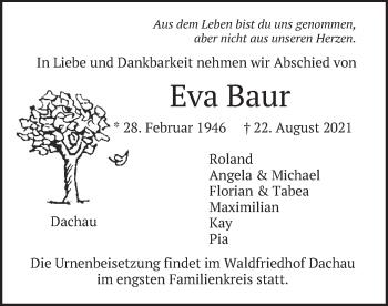 Traueranzeige von Eva Baur von merkurtz