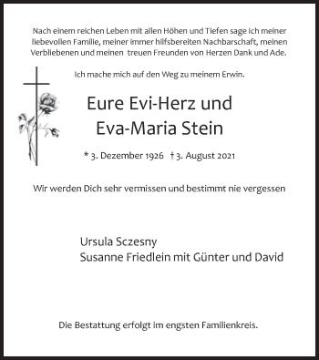 Traueranzeige von Eva Maria Stein von merkurtz