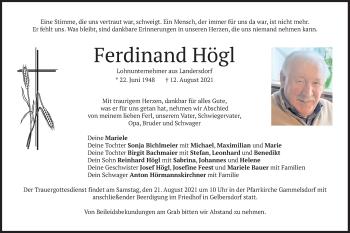 Traueranzeige von Ferdinand Högl von merkurtz