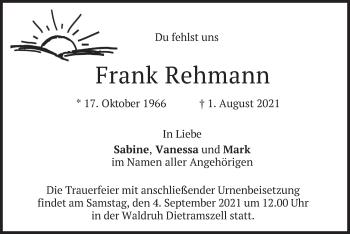 Traueranzeige von Frank Rehmann von merkurtz