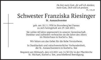 Traueranzeige von Franziska Riesinger von merkurtz