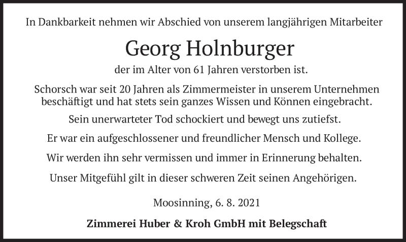Traueranzeige für Georg Holnburger vom 07.08.2021 aus merkurtz