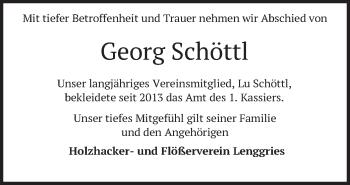 Traueranzeige von Georg Schöttl von merkurtz