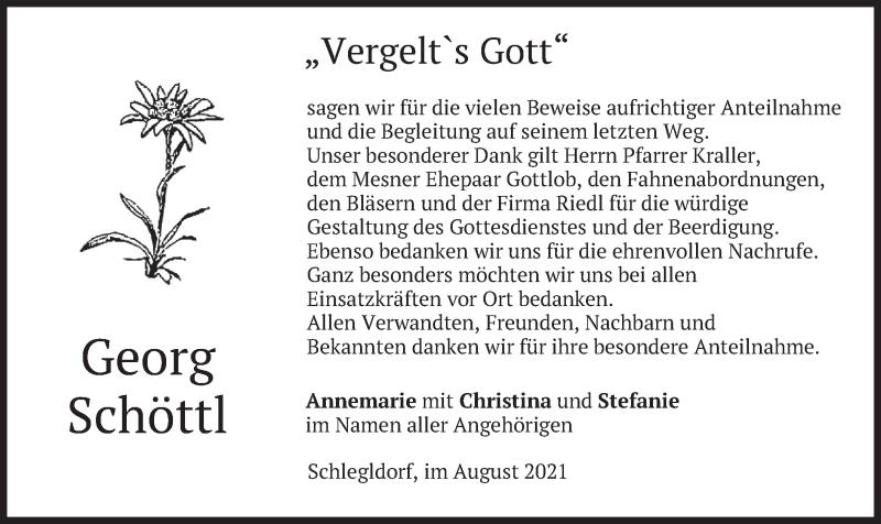 Traueranzeige für Georg Schöttl vom 14.08.2021 aus merkurtz