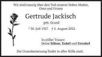 Traueranzeige von Gertrude Jackisch von merkurtz