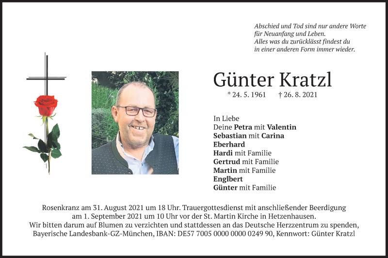 Traueranzeige für Günter Kratzl vom 28.08.2021 aus merkurtz