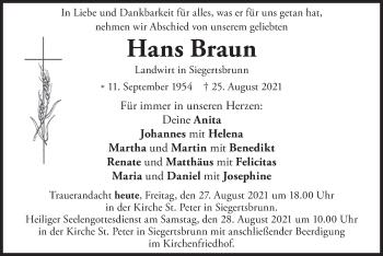 Traueranzeige von Hans Braun von merkurtz