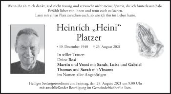 Traueranzeige von Heinrich Platzer von merkurtz