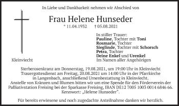 Traueranzeige von Helene Hunseder von merkurtz