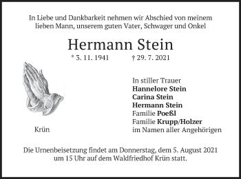 Traueranzeige von Hermann Stein von merkurtz