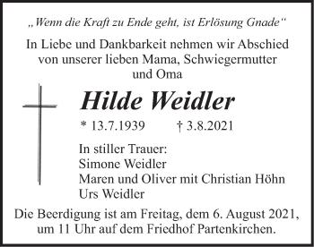 Traueranzeige von Hilde Weidler von merkurtz