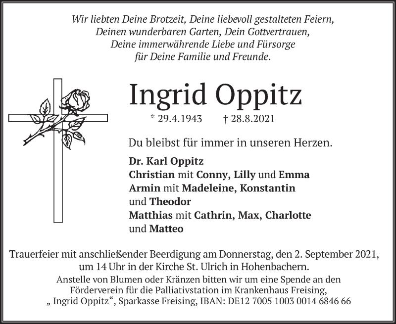 Traueranzeige für Ingrid Oppitz vom 31.08.2021 aus merkurtz