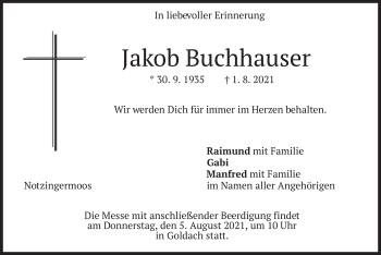 Traueranzeige von Jakob Buchhauser von merkurtz