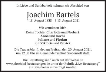 Traueranzeige von Joachim Bartels von merkurtz
