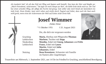 Traueranzeige von Josef Wimmer von merkurtz