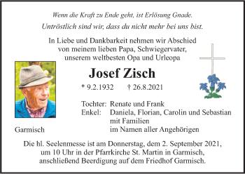 Traueranzeige von Josef Zisch von merkurtz