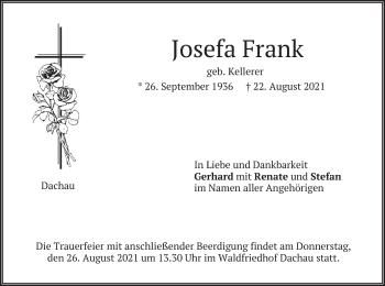 Traueranzeige von Josefa Frank von merkurtz