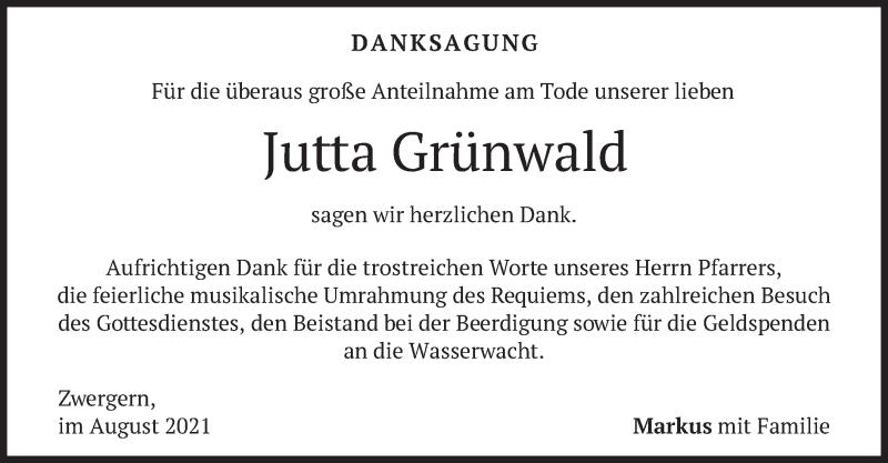 Traueranzeige für Jutta Grünwald vom 07.08.2021 aus merkurtz