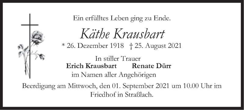 Traueranzeige für Käthe Krausbart vom 28.08.2021 aus merkurtz