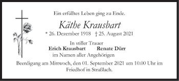 Traueranzeige von Käthe Krausbart von merkurtz