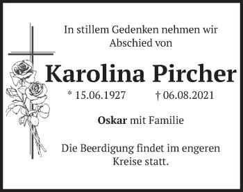 Traueranzeige von Karolina Pircher von merkurtz